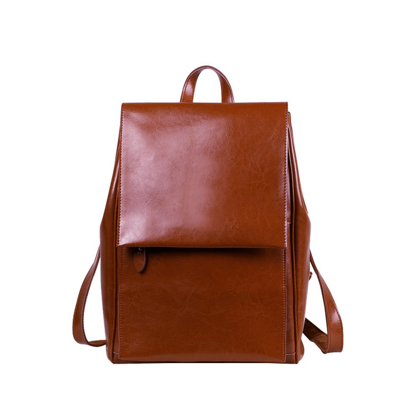 Homeda New Genuine Leather Fashion Women Backpacks Simple Fashion Travel Bag Street Preppy Style Cover Solid Bags Z0020