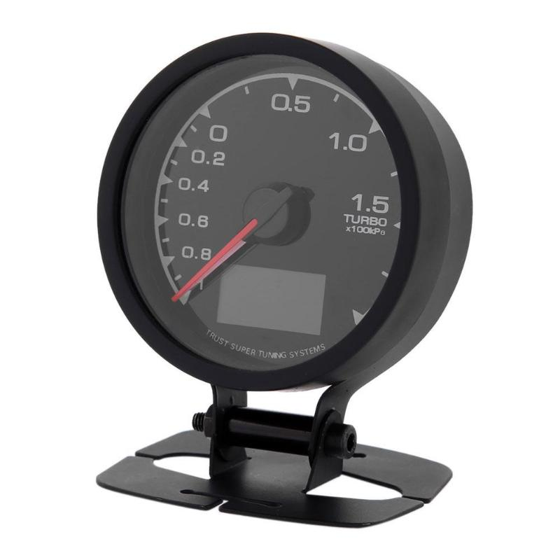 VODOOL New Car Styling Universal 62mm/2.5in 7 Light Colors LCD Display Car Auto Turbo Boost Gauge High Quality Auto Accessories universal racing gauge turbo boost gauge greddi 7 light colors lcd display with voltage meter 62mm 2 5 inch with sensor