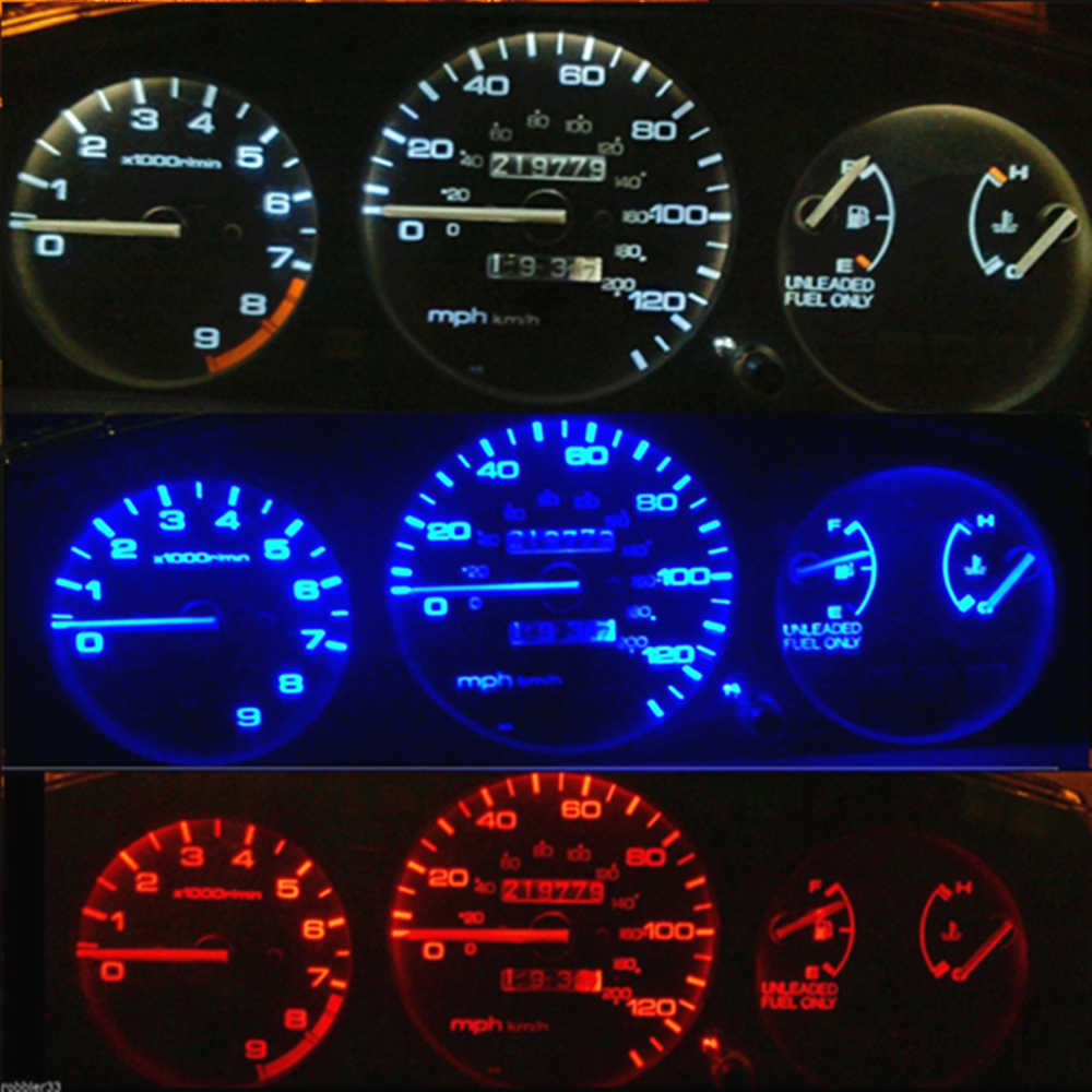 WLJH 16x 白青赤緑ピンク黄色計器ゲージクラスタ + 気候制御 LED ホンダシビック EG 1992-1995