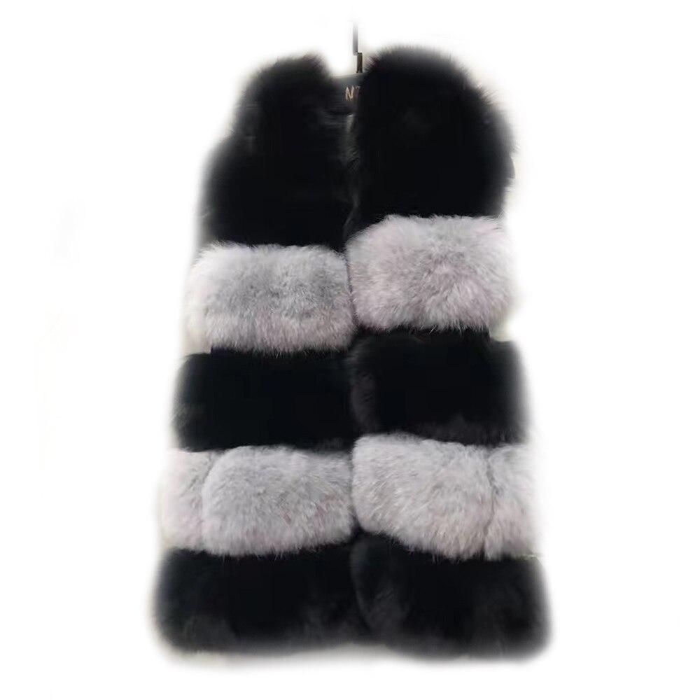 New Luxury Full Pelt Natural Fox Fur Hood Vest Genuine Fur Vest Sleeveless Good Elegant Clothes Winter Female Black Fox Vests