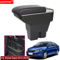 Car Styling ABS With PU Leather Car Armrest Box Center Console Storage Box Holder Case Car Accessories For Skoda Rapid 2013 2019