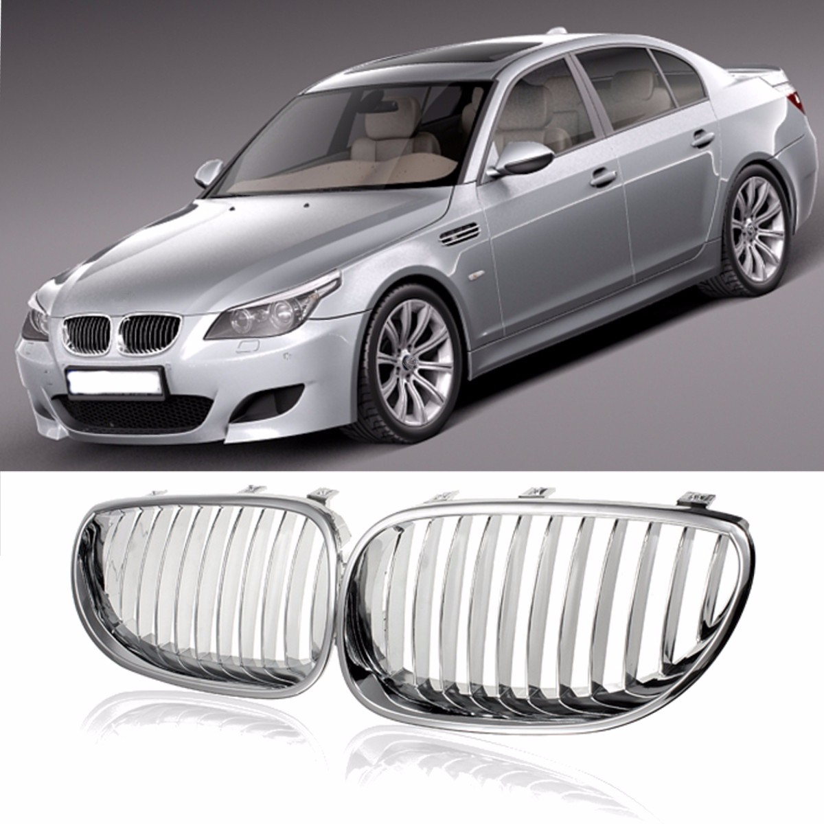 for BMW E60 E61 M5 2003 2004 2005 2006 2007 2008 2009 Chrome Silver Car Auto Front Wide Kidney Hood Grill Grille батут z sports r 1266 40 inch