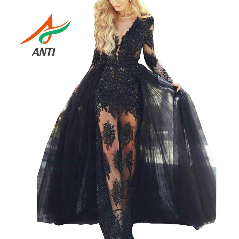 ANTI robe de soirée pour femmes noir col en V manches longues robes de soirée 2019 dentelle Tulle robes de soirée formelles queue détachable dubaï