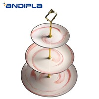 2019 New 3/2 Layers Ceramic Cake Stand Marble Texture Dinner Plates Afternoon Tea Dessert Fruit Tray Wedding Birthday Decoration