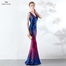 Abiti da ballo 2019 con scollo a v vestito da promenade sexy del sequin abiti da gala cerniera posteriore della sirena di lunghezza del pavimento dellabito di promenade