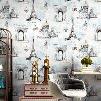 Vintage American Tower Wall Papers for Living Room Coffee Barber Shop Wallpaper Roll for Restaurant Clothing Store Hotel Walls