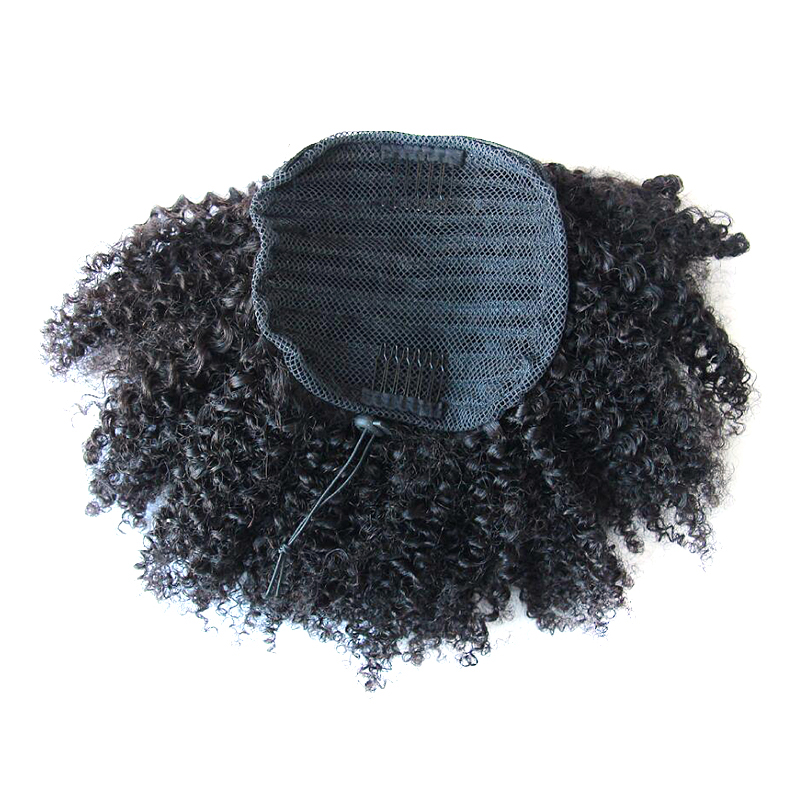 DLME Brazilian Hair Tight Curl Clip In Extensions 10-18 inch Kinky Curly Afro Puff Ponytail Hairpiece 100g No Tangle Synthetic