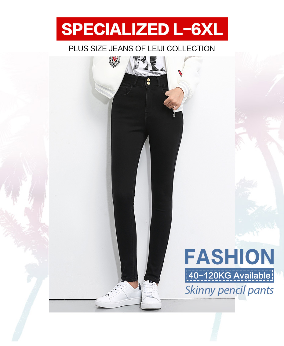 HTB1h496J1SSBuNjy0Flq6zBpVXar - LEIJIJEANS Plus Size button fly women jeans High Waist black pants women high elastic Skinny pants Stretchy Women trousers