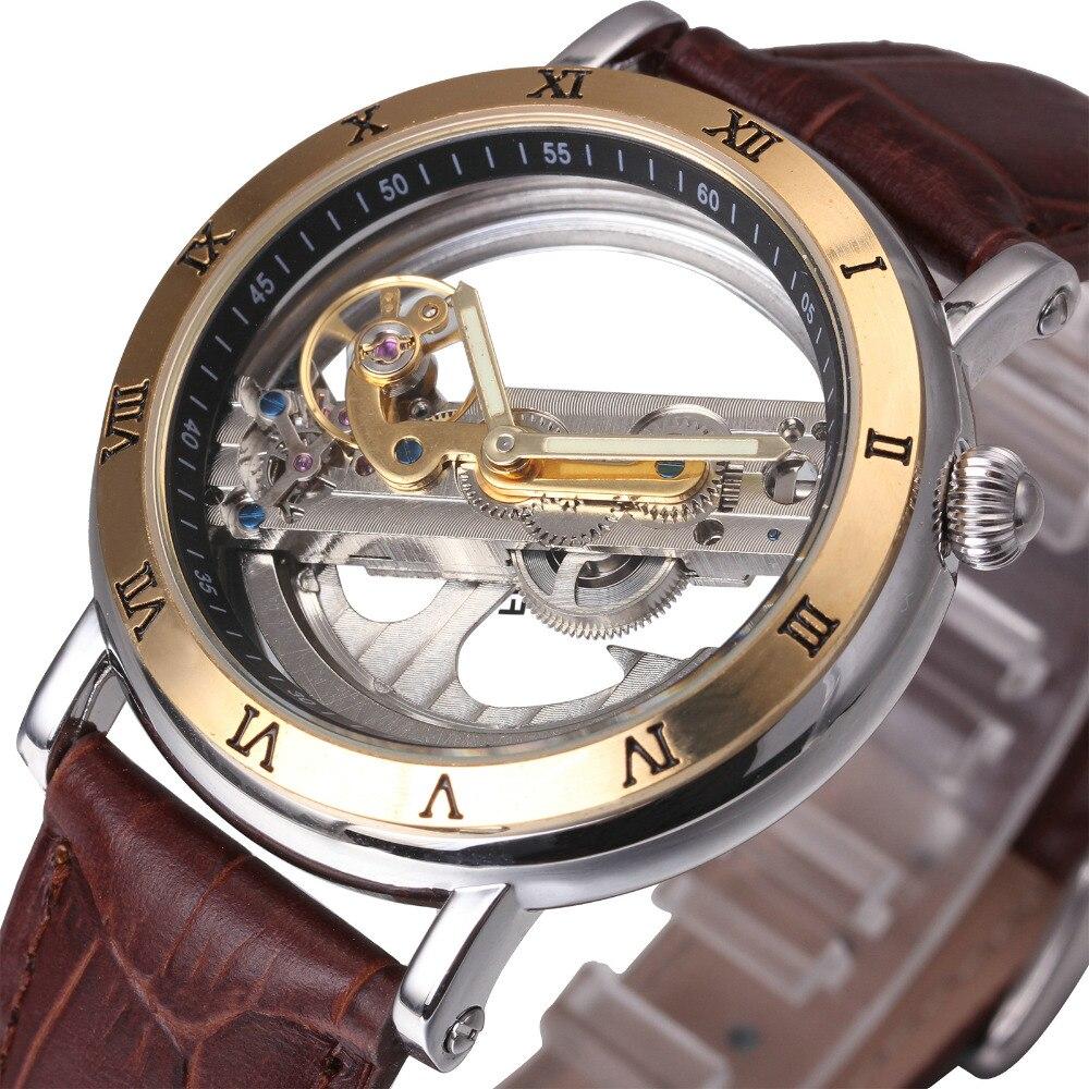 Luxury Men Golden Bridge Watch 2017 WINNER Auto Mechanical Watch Genuine Leather Strap Transparent Luminous Hand