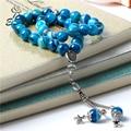 ESB 100% Original Natural azul rayado Agates piedra joyería musulmana Misbaha Tesbih Rosario collar de Rosario para Ramadán