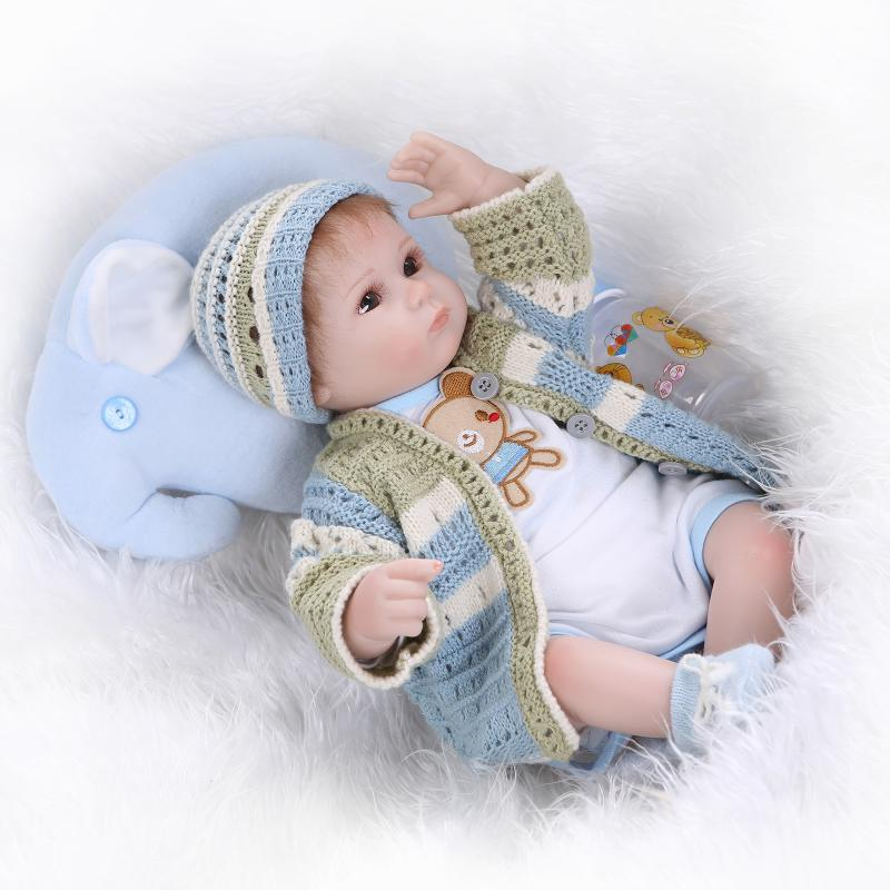 "Silicone reborn babies for girl, lifelike 18"" reborn baby doll with new knitting clothes boneca brinquedos toys for children"
