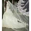 3 Meter Long Cathedral Wedding Veils White Ivory Lace Edge Bridal Veil with Comb Wedding Accessories Bride Mantilla Wedding Veil