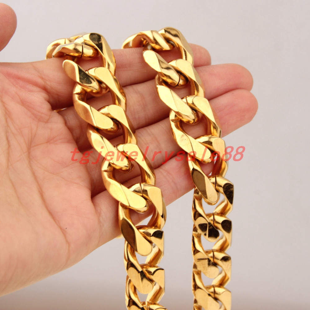 Huge Heavy Fashion Men's Best Jewelry 316L Stainless Steel 19mm Wide Gold Curb Cuban Link Chain Bracelet Or Necklace 8-40