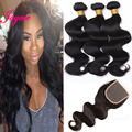 Malaysian 3 Bundle Deals With Closure 7A Unprocessed Virgin Hair Lace Closure Ms Lula Hair With Closure And Bundles Body Wave 1B
