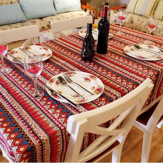 Cheap Price Bohemia Striped Tablecloth Cotton Linen Tablecloths