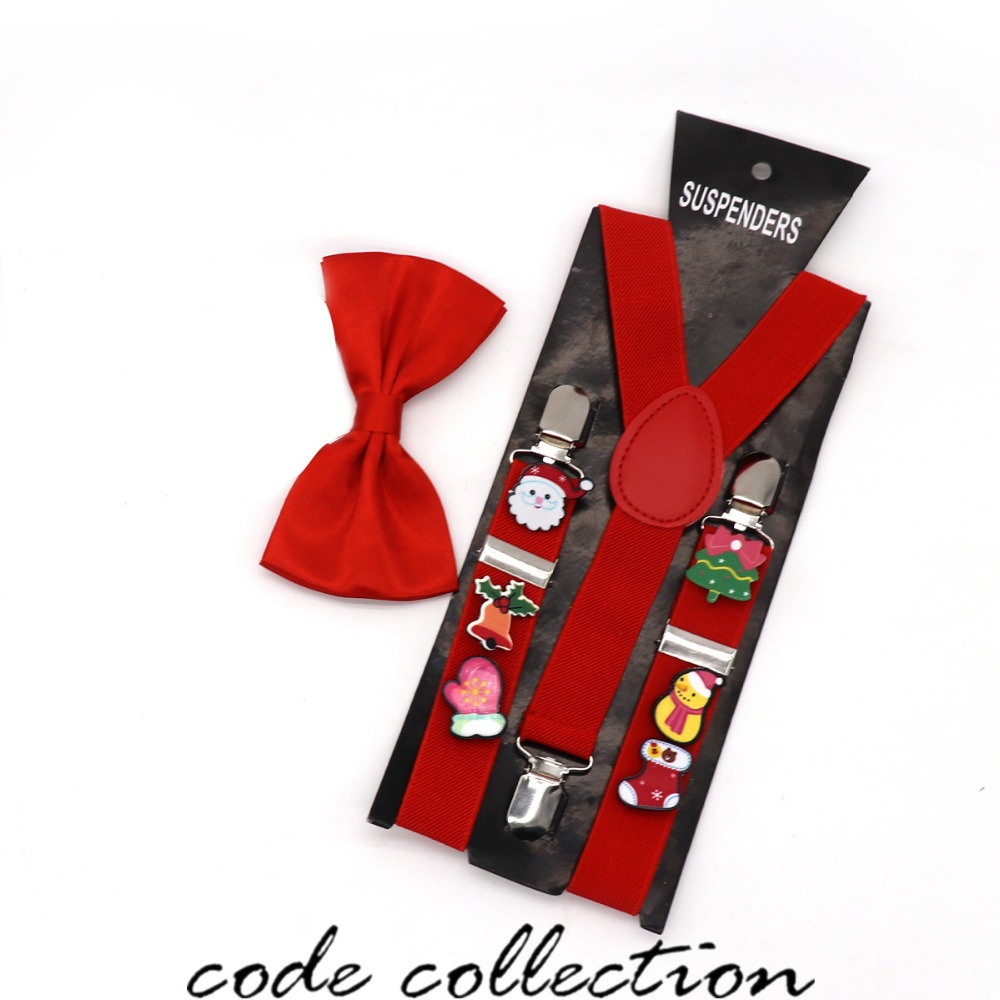 Fashion 2.5cm Wide Random Christmas Acrylic Brooch Decoration Suspenders For Child Boy Girl 3 Clip Bow Tie Set Suspenders Gift