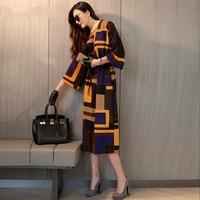 2016 Spring New Fashion European Temperament Color Dress Women Plus Size Loose Dress Three Quarter Sleeve
