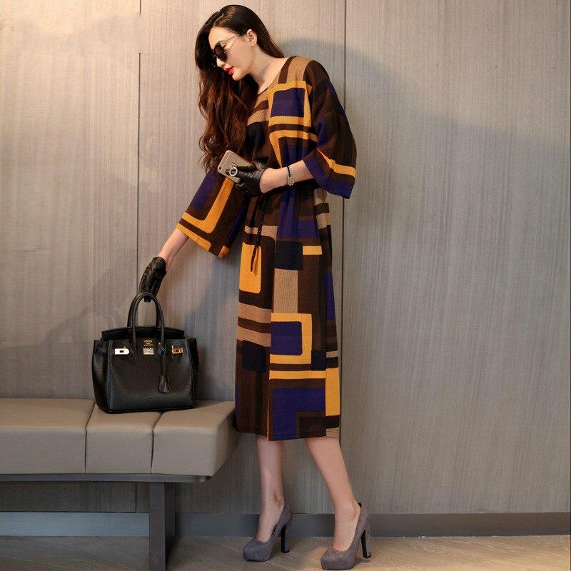 Novedad moda europea primavera verano, Vestido tejido suelto, estampado con figu