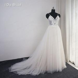 Image 2 - Dot Tulle Beach Wedding Dress Spaghetti Pearl Beaded Strap Bridal Gown