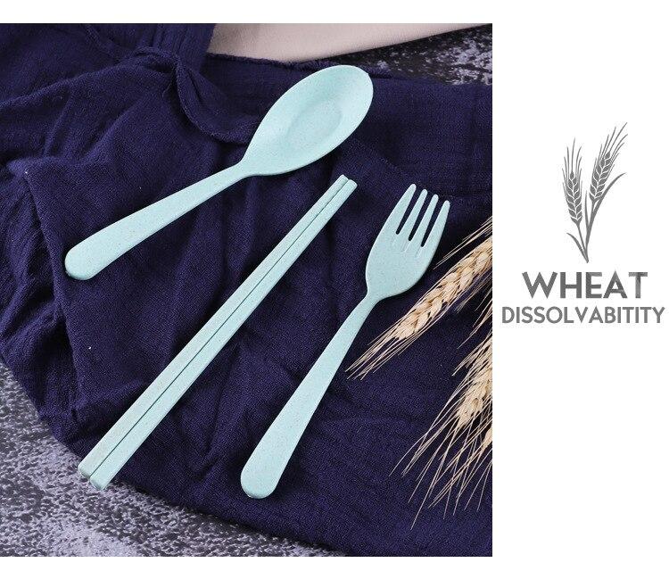 FairytaleMM Wheat Straw Chopsticks Spoon Fork Portable Tableware Three Piece Set Outdoor Childrens Tableware Set-Blue
