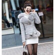 Зима Новый женский короткие Белая Утка Вниз Куртки и Пальто лисий Мех женский черный/красный/серый QY044