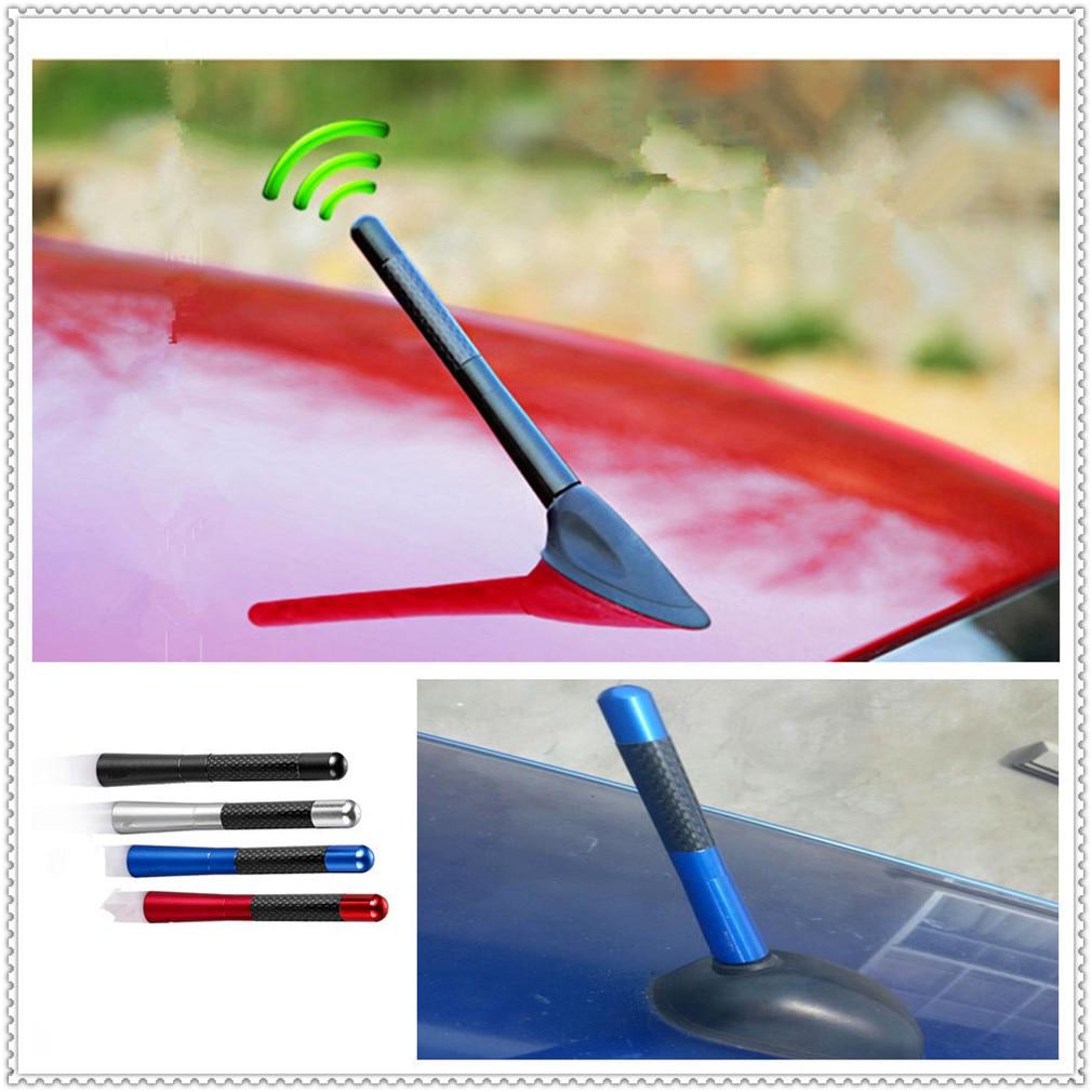 "3.5cm 1.4/""  Red Carbon Fiber Wrap Screw Type Short Car Radio Antenna Universal"