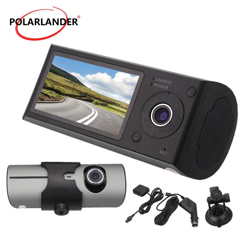 2.7 pouces TFT LCD avec GPS 3D g-sensor double caméra enregistreur vidéo Cam double lentille X3000 R300 140 degrés grand Angle véhicule voiture DVR