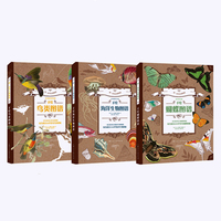 3Pcs/set Butterflies/Marine Lives/Birds Go To Museum with Coloring Books Series Coloring Books for Kids/Adults