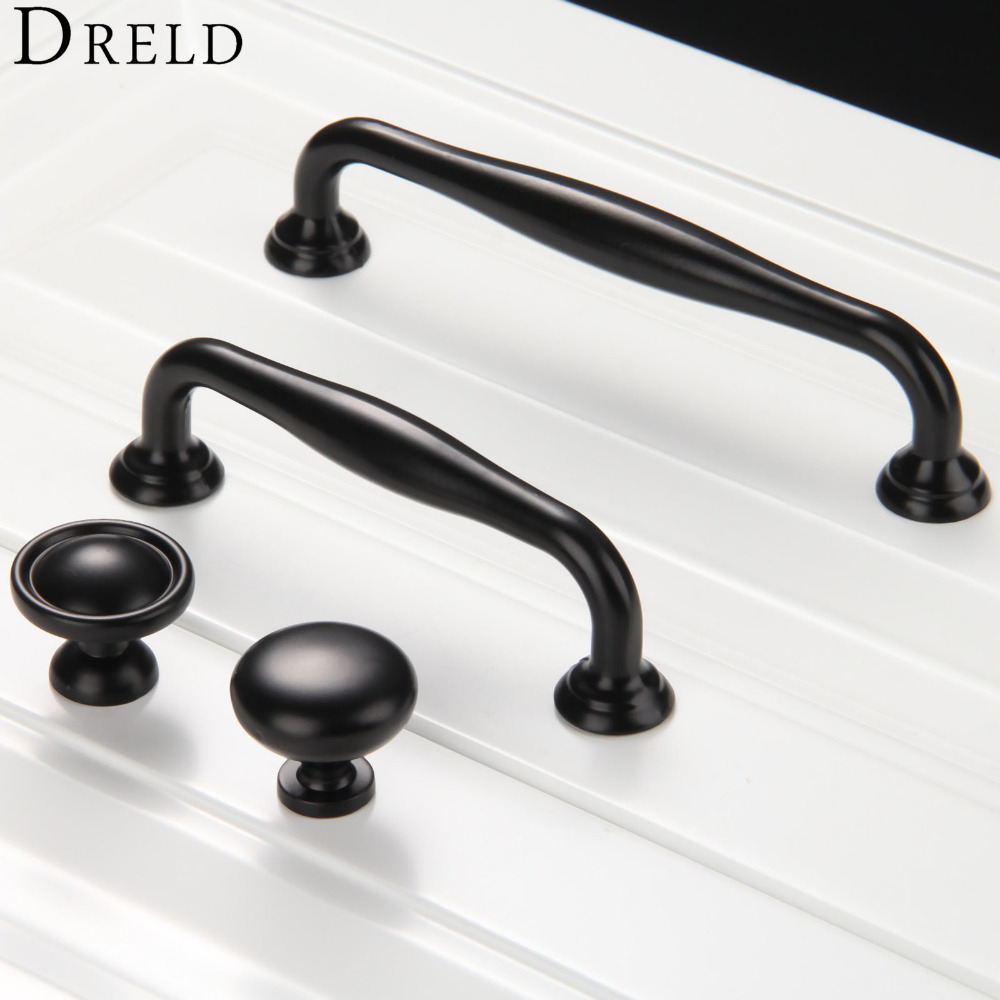 1Pc Furniture Knobs Black Kitchen Door Handles Cupboard Wardrobe Drawer Pull Handle Cabinet Knobs and Handles Furniture Hardware retro vintage kitchen drawer cabinet door flower handle furniture knobs hardware cupboard antique metal shell pull handles 1pc