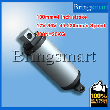 Bringsmart 100mm 4 Inch Linear Actuator Tubular Motor 12V-36V DC Motor 45-230mm/s 200N Heavy Duty Electric Motor Waterproof