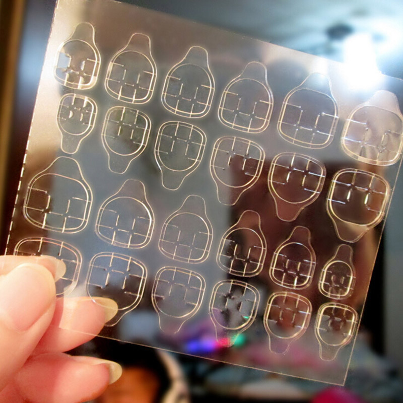 10 SheetS Transparent Nail Jelly Double-Sided Adhesive Tape Fingernail Art False Nail Tips Extension Tool