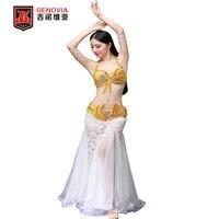 Professional Women Belly Dance Costume Set Bra Top Belt Skirt Dress Carnival Bollywood Luxury Performance Dress