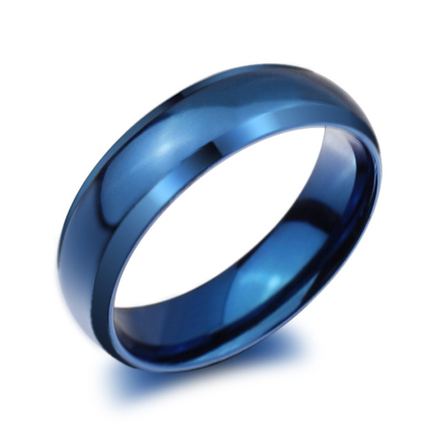 Fashion Blue Gold Black Ring Stainless Steel Rings For Men And Women Wedding Engagement Finger Ring Jewelry