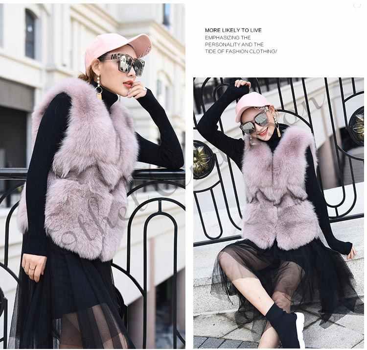 YENI Moda Uzun Gerçek Tilki Kürk Yelek Kadınlar Kış Modası İnce V Yaka Hakiki Doğal Tilki Kürk Yelek Kadın Kürk Ceket ceket Kadın