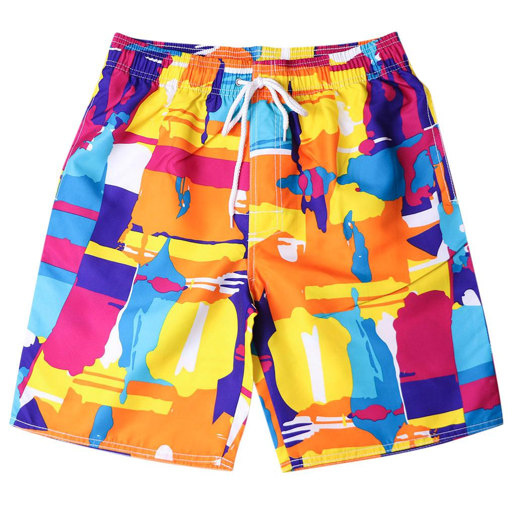 Chamsgend Shorts Mens Board Shorts Surfing Trunks Blue Red Plaid Print Patchwork Beach Shorts Swimwear Male Short Pants 9feb.12 Men's Clothing