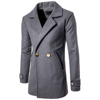 Men's Windbreaker Solid Color Body Bag with Color Matching Button Men's Casual Long Trench Coat Long Jacket Men