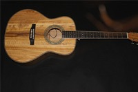 free shipping AAAA all Solid imported olive wood OM body custom guitar acoustic electric guitar