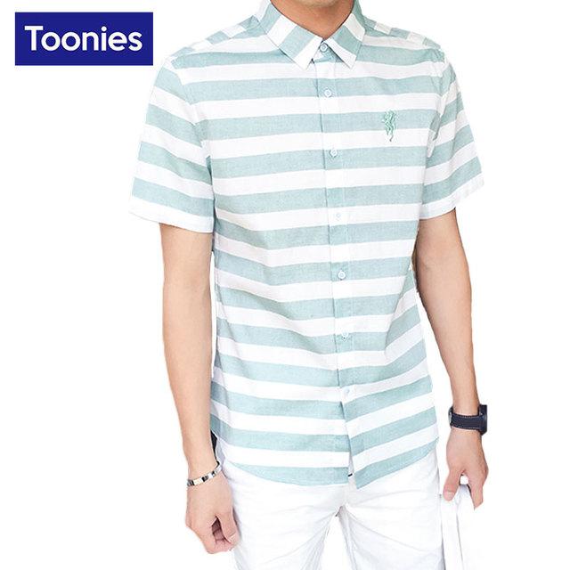 2017 listrado casuais camisa dos homens moda verão de manga curta camisa camisa hombre chemise homme camisa social do homem marca clothing