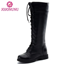 New Fashion Women's Boots Lace Up Knee High Boots Women Martin Boots Flats Casual Punk Footwear Shoes Woman Size 34-43 fedonas new fashion ankle boots for women platforms punk rock night club party shoes woman lace up martin shoes basic boots