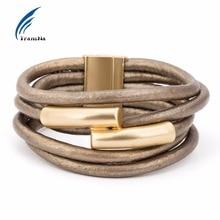 Multilayer font b Gold b font Color Magnet Gray PU Rope Wrap Bracelet Bileklik Pulseira Feminina