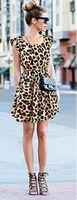 2017 Fashion nieuwe sexy open cultiveren moraal show dunne luipaard graan grote werven vest jurk QZ800041