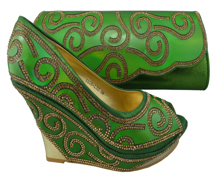 Nice looking African shoes matching handbag sets with nice decoration for party 1308-L32 green, high heel 10cm