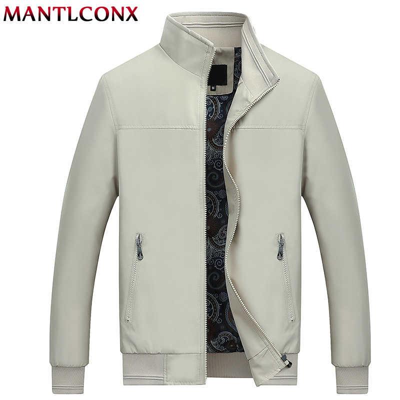 MANTLCONX 2019 nuevo otoño Casual de marca para hombre chaquetas y abrigos con cuello de soporte cremallera ropa de abrigo para hombre chaqueta negra para hombre ropa