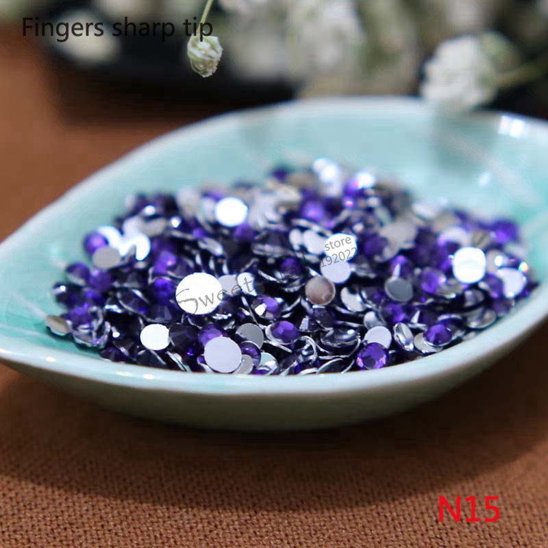 2016  1000 pcs 2mm grape Purple 14 Facets Round Rhinestone Sparkling Nail Art Decoration DIY N15