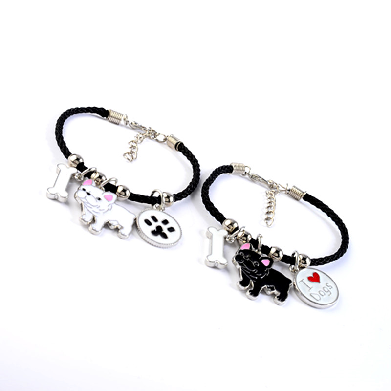 French Bulldog Charm Bracelets Bangles Women Girls Silver Color Dog Pendant Rope Chain Female Wrap Bracelet Jewelry Bijoux Femme 4