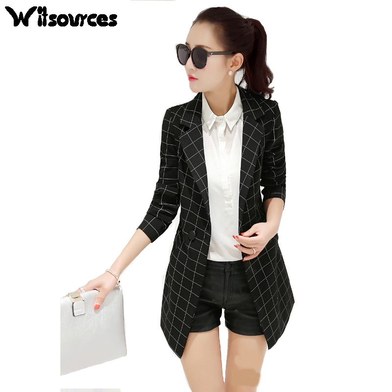 Witsources women casual blazers new autumn slim waist plaid check blazer jackets SP134