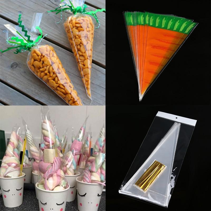WEIGAO-sac en plastique Cellophane 20/50 pièces | Sac clair de stockage de biscuits et cônes de bonbons, sac de rangement de biscuits, sacs cadeaux pour la décoration de pâques, cadeau de joyeuses pâques
