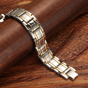 Image 5 - WelMag Mens Magnetic Bracelets Bangles Stainless Steel Gold Power Therapy Wristband Double Row Germanium Health Bracelet
