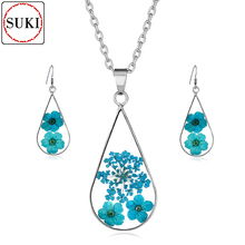 SUKI Natural Dried Flower Manual Epoxy Necklace Earring Set Plant Specimen Resin