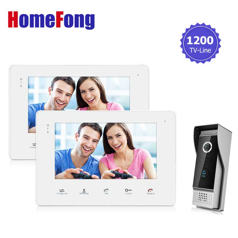 Homefong 7 TFT Wire Video Door Phone 1200TVL Doorbell Camera Intercom SD Card Recording Touch key (2 Indoor Monitor+1 Camera) цена